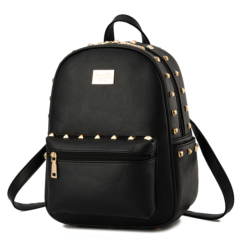 Small Women Backpacks Rivet Zipper Pu Leather Student Backpack Preppy Fashion Bag Girls Women's Backpack toposhine small rivet women backpacks fashion pu leather women shoulder bag rivet small ladies backpack girls school bags 1751