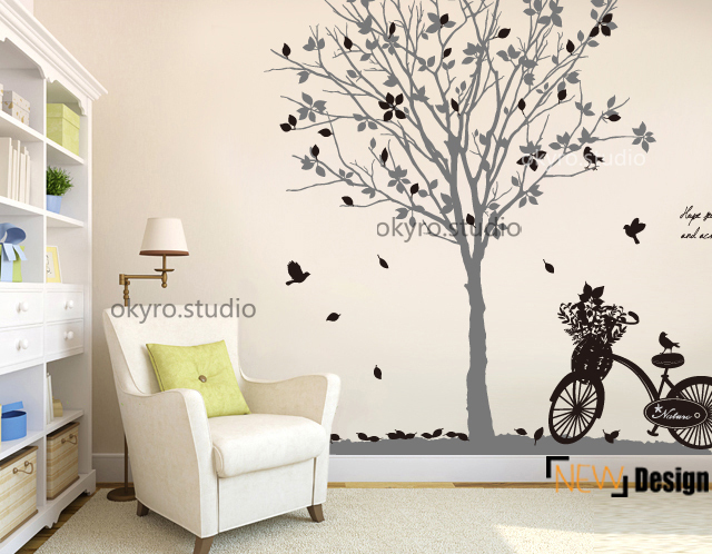 wish tree wall sticker kids boy and girl bicycle leaves make a wish