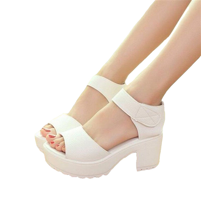 Free shipping big size 35- 41 2017 women's summer high-heeled shoes thick heel open toe platform sandals platform sandals white
