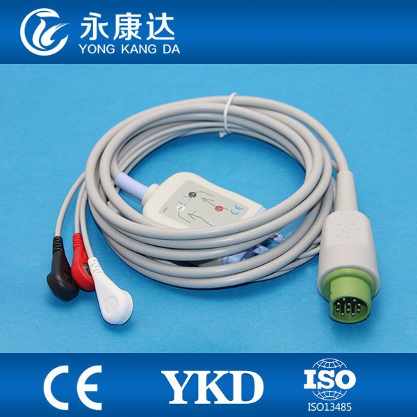 Siemens ecg cable and leadwires,3 lead,AHA,snap,TPU material