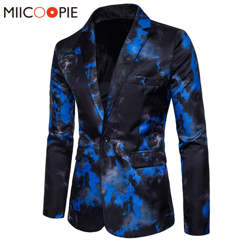 Brand Male Suit Blazer Single Button Ink Print Mens Blazer Jacket Chinese Style Flame printing Vintage Suits Luxury Formal Dress