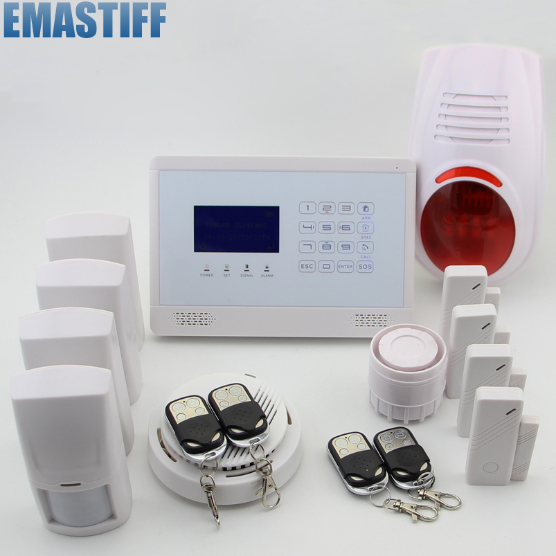 Touch LCD Wireless&Wired Home Office Burglar Intruder Alarm System +Smoke Sensor +App Control for you home security kerui wireless wired gsm voice burglar home house security alarm app control tft touch panel wireless smoke detector pir sensor