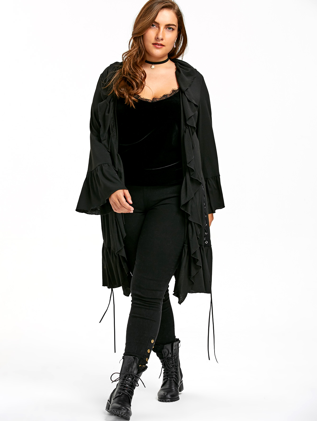 6eeecd097bf7 US $36.65 |Gamiss Women Autumn Spring Plus Size Ruffle Lace Up Gothic Coat  Flare Sleeve Oversized 5XL Solid Color Large Women Coat Outwear-in Trench  ...