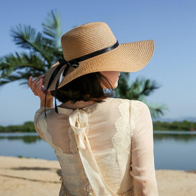 cd9074a5c01 Summer Hats For Women Chapeau Femme Sun Hat Beach Panama Straw Hat Large  Wide Brim Black Ribbon Bow Visor Bone Female Cap