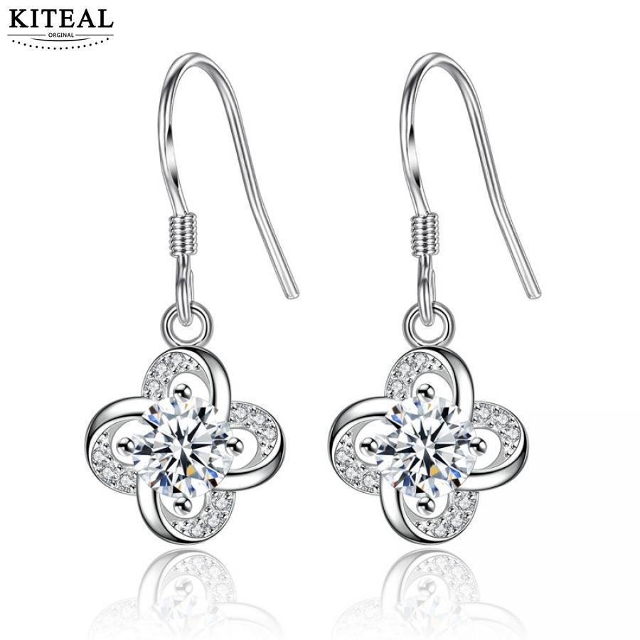KITEAL Mode Design Parfüm frauen ohrringe clover lila klar zirkon mode stil earing diy