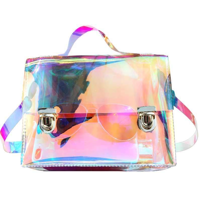 SUNNY BEACH Fashion Transparent Hologram Laser Tote Bag Women Holographic Bag  Famous Brand School Satchel PVC b177e9580fd6a