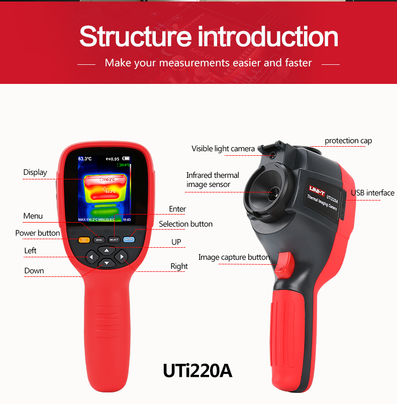 UNI-T UTi220A High-Definition HD Infrared Thermal Imager Camera Floor Heating Detector Temperature Imaging Imager 300000 Pixels