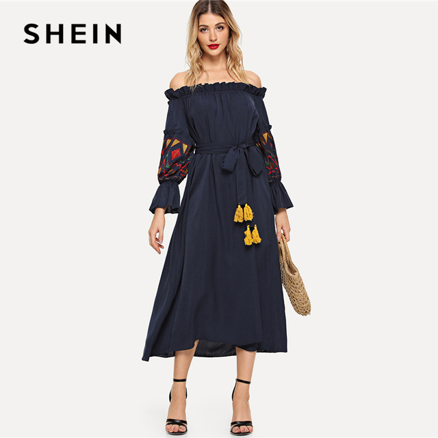 6f8c07ad257 US $45.0 |SHEIN Black Embroidered Lantern Sleeve Bardot Dress with Tassel  Belt Vacation Off Shoulder Ruffle Knot Beach A Line Autumn Dress-in Dresses  ...