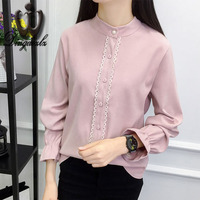 Dingaozlz New Korean Ladies Shirt Pearl Tops Flare Sleeve Women Blouse Casual White Shirt Solid Color