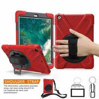 Fall für Apple Neue iPad 9,7 2017 2018 6th generation Tablet A1822 A1893 Kinder Safe Stoßfest Rüstung abdeckung Hand Strap & Neck Strap