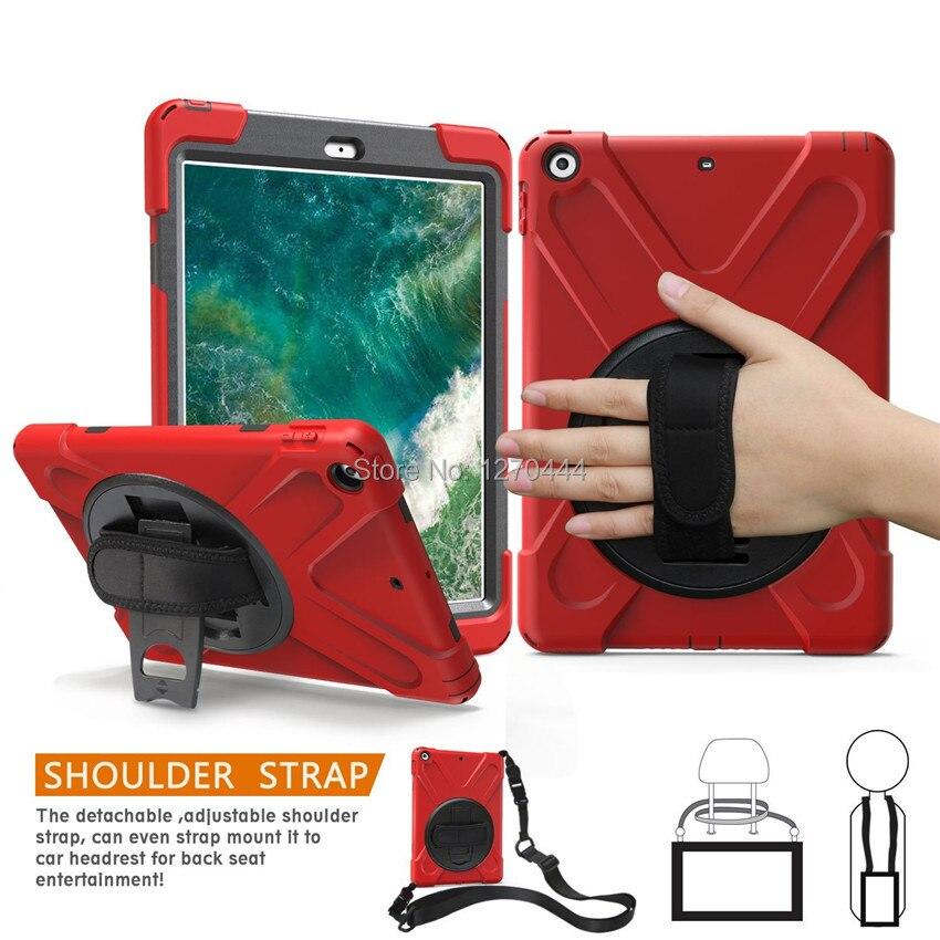 Caso para Apple nuevo iPad 9,7 De 2017 de 2018 6th generación tableta A1822 A1893 niños seguro a prueba de choques de la armadura cubierta de correa de mano y correa para el cuello