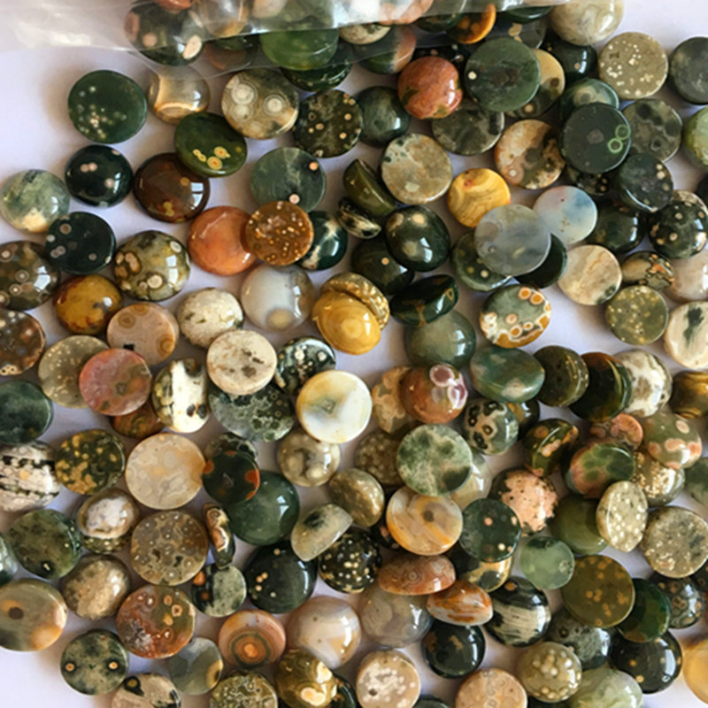 (12 pieces/lot) Wholesale Natural Old Ocean Jaspers Round CAB CABOCHON 8x4mm Free Shipping Fashion Jewelry HY006