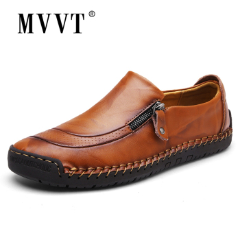 men Plus Size Men Loafers Split Leather Men Casual Shoes Comfortable Quality Men Flats Breathable Men Shoes New Arrival 2019