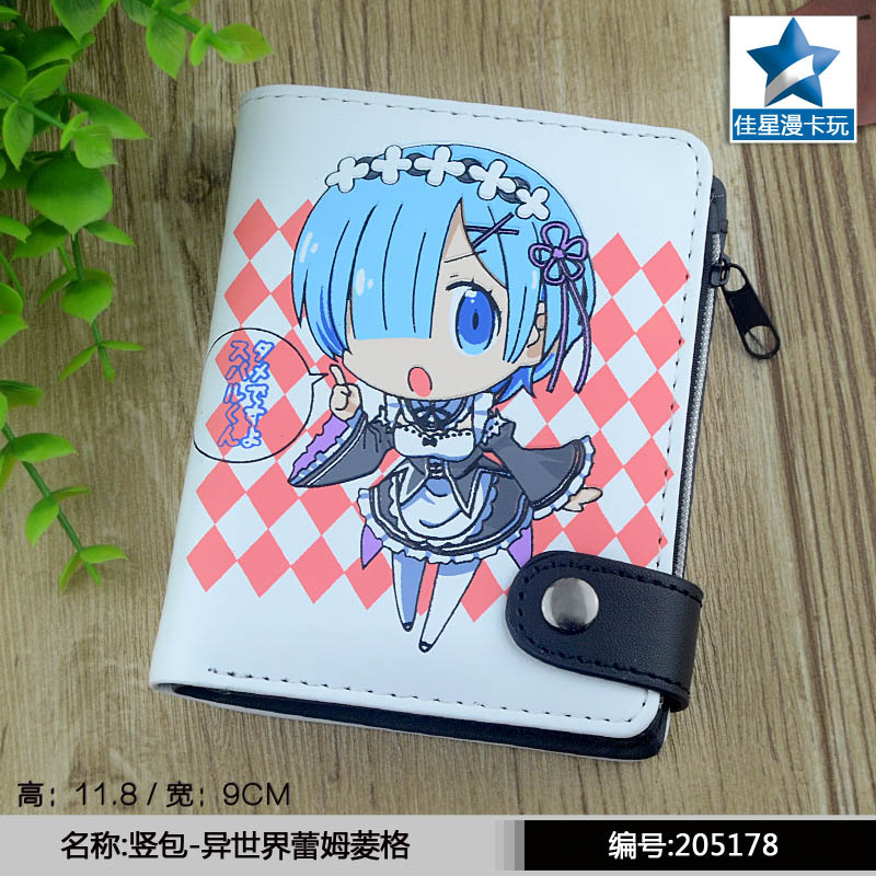 Anime Re: Zero kara Hajimeru Isekai Seikatsu Rem White PU Short Zero Wallet/Coin Purse with Interior Zipper Pocket striped pu zero wallet japanese mascot kumamon coin purse with interior zipper pocket