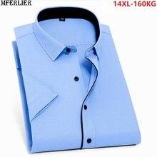 MFERLIER men office formal shirts work short sleeve summer b