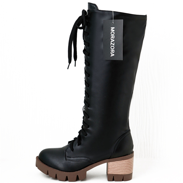 MORAZORA Fashion autumn lace up cosplay womens boots shoes woman round toe square heels knee high boots woman fashion shoes