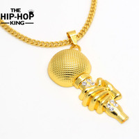Mens Gold Tone Iced Out Microphone Pendant Cuban Chain Necklace High Quality Rock Punk Rapper Music