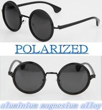 2018 Magnesium aluminum alloy Retro round oversize glasses  men women  polarized  sun glasses UV400 polarized sunglasses driving