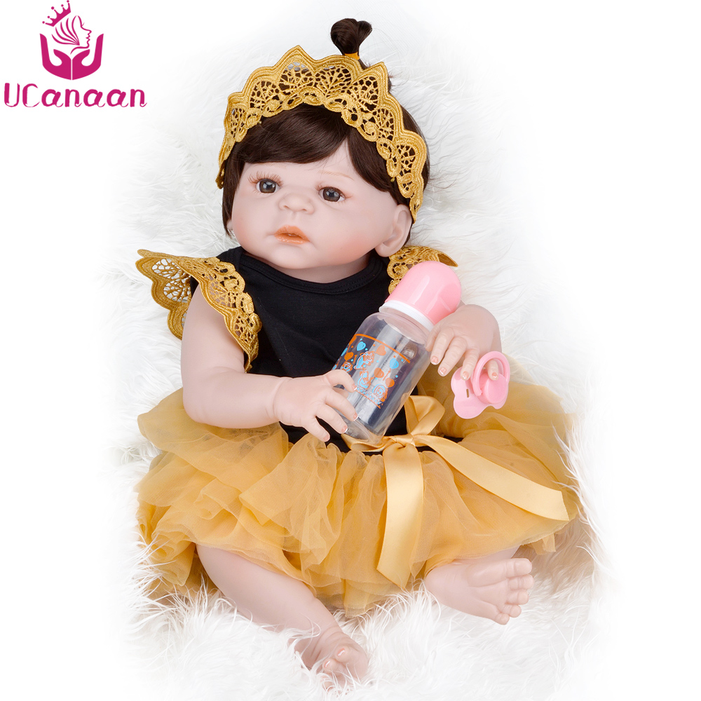 UCanaan Reborn Dolls 55CM Full Silicone Baby Born Alive Toys For Children Kawaii Princess Long Hair Girl Bebe-reborn Bonecas BJD kawaii baby dolls