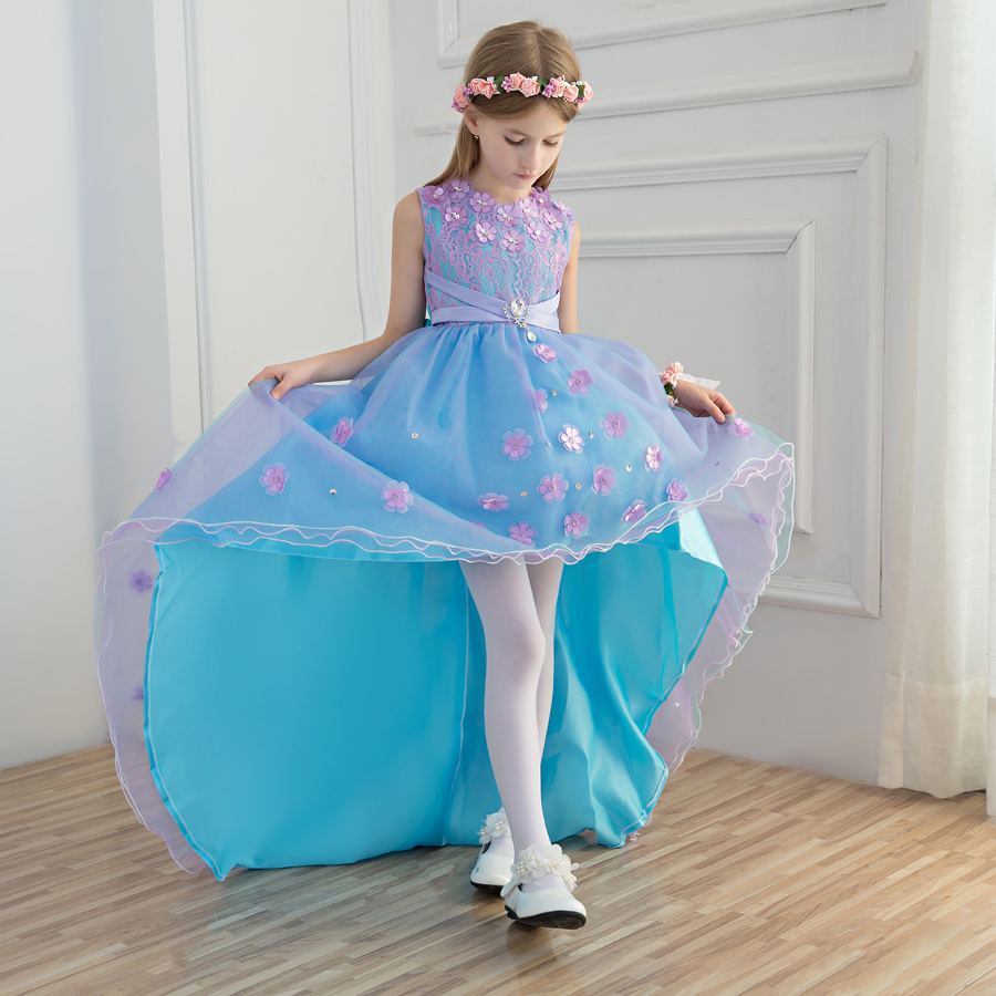 2018 winter girls dress children's clothing party princess baby kids girls clothing wedding Hi-lo dresses prom dress for teens 2018 winter girls fancy mini floral party wear clothing for children sleeveless lace princess wedding dress prom dress for teens
