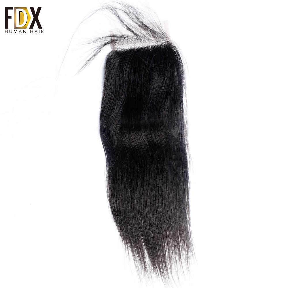 FDX pelo brasileño 5x5 encaje cierre recto encaje suizo con pelo de bebé cabello humano Natural 8 10 12 14 16 18 20 pulgadas remy cierre