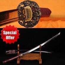 FULL TANG HANDMADE JAPANESE SAMURAI SWORD KATANA CLAY TEMPERED DAMASCUS FOLDED STEEL SHARP BLADE Genuine Rayskin Hard Wood Saya