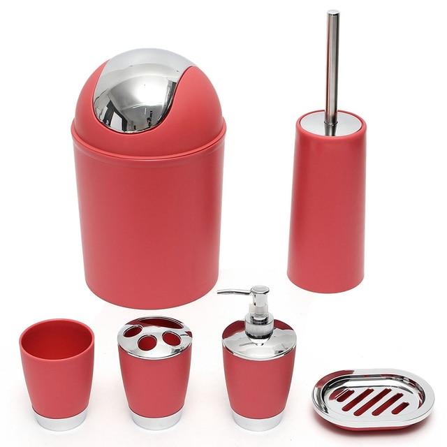 6pcs Set Bathroom Necessities Toothbrush Holder Toilet Brush Soap Dish Bin Cup Sprayer Bottle