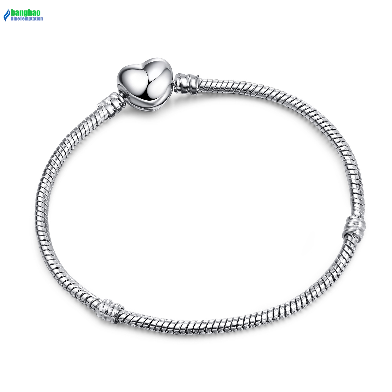 Fashion 925 Charm Bracelet Silver Snake Chain Clip Clasp Bead Fit European Bead Charms Bracelet DIY