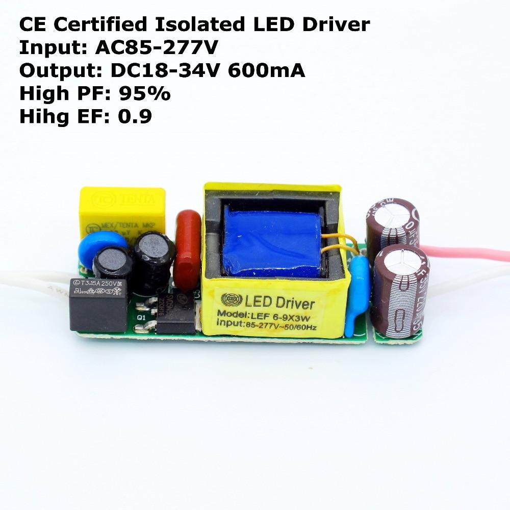 2pcs CE Certified Isolated DC 18V - 34V 600mA 20W Led Driver for LED Beads Chip Power Supply AC 110V 220V 277V