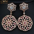Top Quality Cubic Zirconia And Red Crystal Pave Big Rose Gold Earrings Long Dangle Drop Women Earing Jewelry CZ335