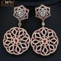 Top Quality Cubic Zirconia e vermelho cristal pavimenta o Big Rose brincos de ouro longo balançar gota mulheres brinco jóias CZ335
