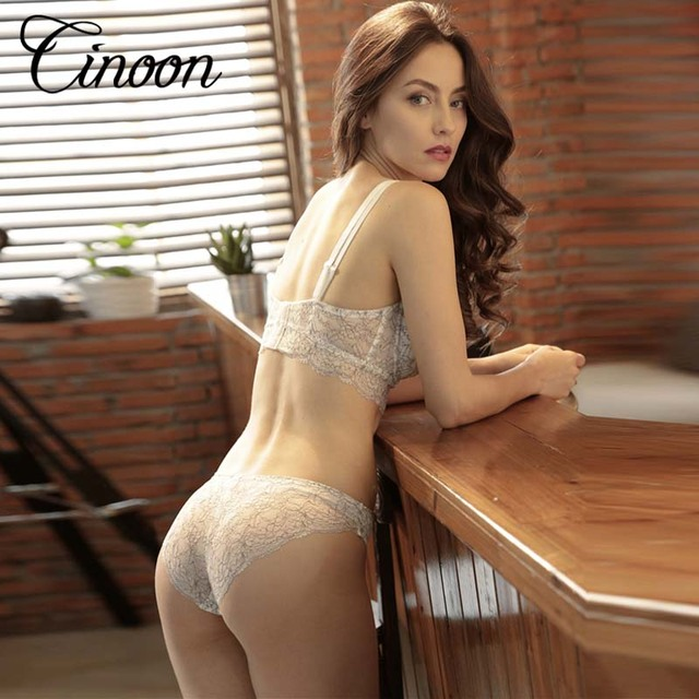 CINOON 2017 Ultra-thin Sexy Bra Set Unlined Push Up Underwear Women 3/4 Cup  Fashion adjustable strap brief sets Push up Vs Bra