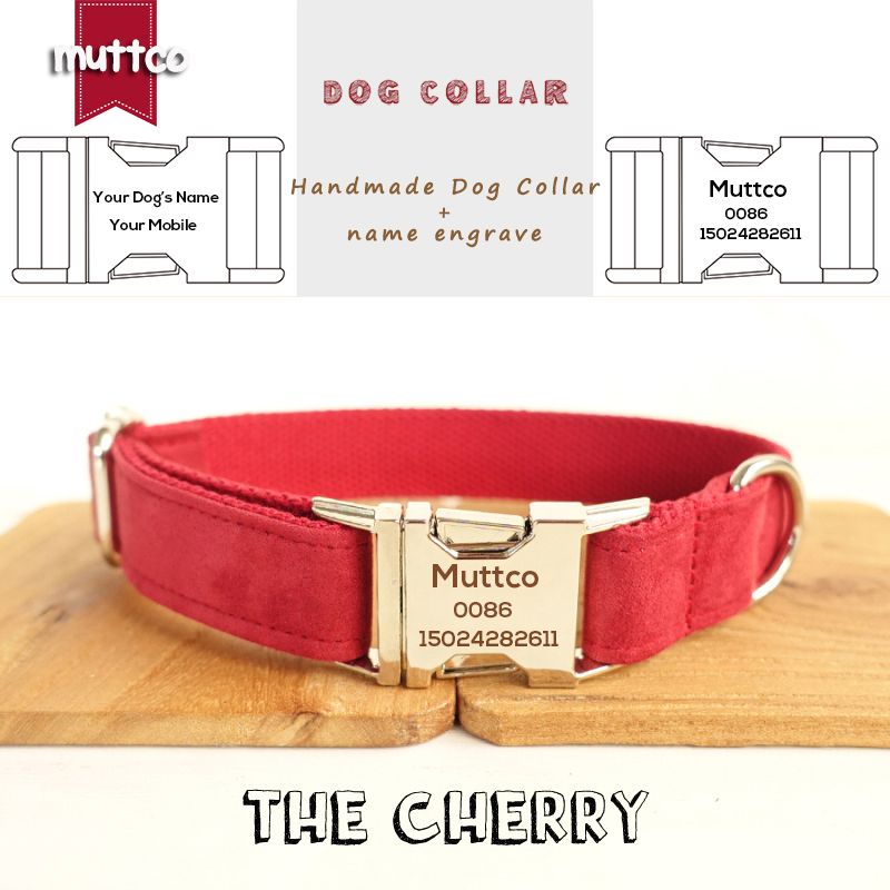 MUTTCO Custom made collar retailing self-design dog collar THE GIRL handmade 5 sizes engraved dog collar and leash UDC028