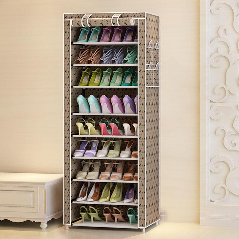 Image 4 - 9 Ярусов, современные полки для обуви, ткань Оксфорд, табурет, шкаф для хранения, многоцелевой стеллаж для обуви, сделай сам, органайзер для обуви, чехол, экономия места-in Обувные шкафы from Мебель on AliExpress