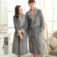 New Fashion Mens Luxury Fur Soft Silk Flannel Extra Long Bath Robe Men Kimono Bathrobe Lovers Warm Dressing Gown Male Nightgown