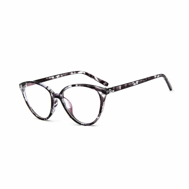 Zilead Retro Cat Eye Clear Lens Glasses Frame Merek Wanita Blue-Ray Optik Kacamata Bingkai Miopia Bingkai Lensa Polos kacamata