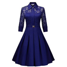 Womens 2019 Autumns latest hot sale solid color lapel lace retro stitching perspective solemn high quality fashion sexy dress