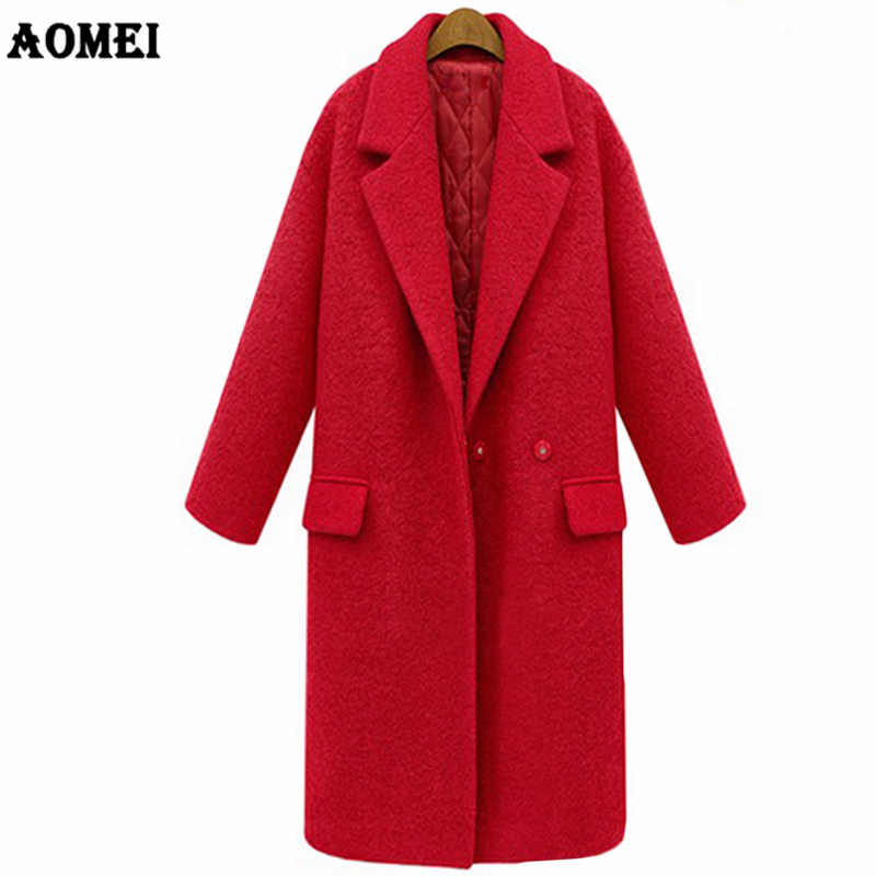Autumn Winter 2019 Female Outwear Red Black Wool Thick Coat Long High Quality Overcoat Lining Warm Quilted Clothes Plus Size 3XL