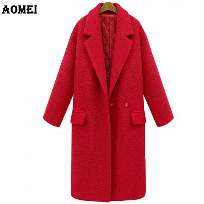Autumn Winter 2019 Female Outwear Red Black Wool Thick Coat Long High Quality Overcoat Lining Warm Quilted Clothes Plus Size 3XL-in Wool & Blends from Women's Clothing    1