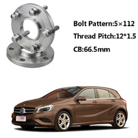 2pc 5x112 66.5CB Centric Wheel Spacer Hubs M12*1.5 Bolts For Benz A Class W168 SLK R170/171 E Class W210 W214 C Class W203