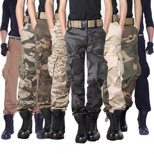 d9c60977a684 2018 Mens Cargo pants Male Tactical Pant Military Casual Jogger Camo Multi  Pocket Trouser Camouflage Army