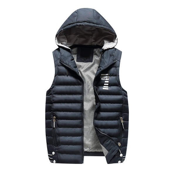 f4e37a2b53a442 New sleeveless hoodie men casual vest cotton Warm solid blue ...