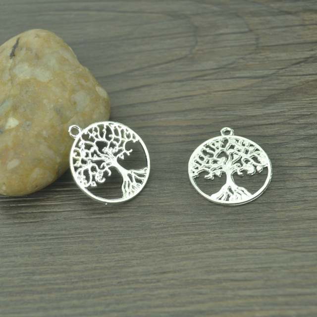 10 pcs Fashion charms round metal Tree of life pendant diy jewelry necklace 4101