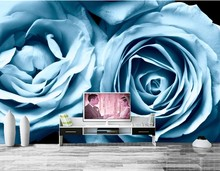 Custom Roses Light Blue Flowers wallpaper,hotel coffee shop living room sofa TV wall bedroom wall paper murals modern wallpaper