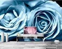cecac18f242d5b Custom Roses Light Blue Flowers Wallpaper Hotel Coffee Shop Living Room  Sofa TV Wall Bedroom Wall