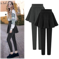 Makuluya 6XL New Arrivals Similar 2 Pieces Skirt Women Leggings Thickening Inside Velvet Middle Waist Lady Plus Leggings QW48