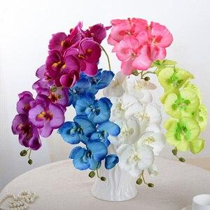 Image 3 - Artificial de seda branco orquídea flores borboleta alta qualidade traça phalaenopsis falso flor para casamento decoração do festival casa