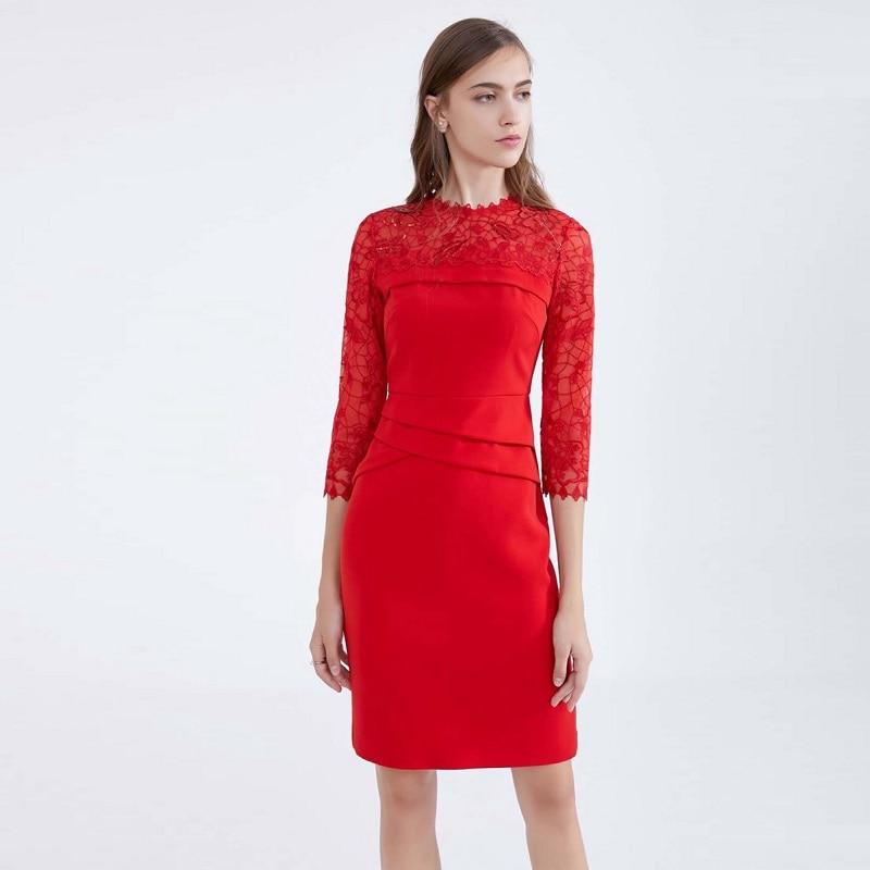 Automne 4 Paillettes De Mariée Robes Partie Dentelle Sexy En 3 Patchwork Robe 2018 Hip Mode Femmes Manches Green red Paquet q7Agztw
