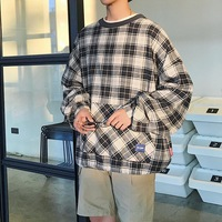 2018 Spring And Autumn Youth Fashion Trend Japanese Boys CasualLoose Cotton Plaid Hooded Sweatshirts Handsome