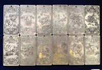 (12 unidades) Elaborado Viejo Chino Doce Zodiaco Chino Auspicioso Amuleto de Plata Tibetano Placas